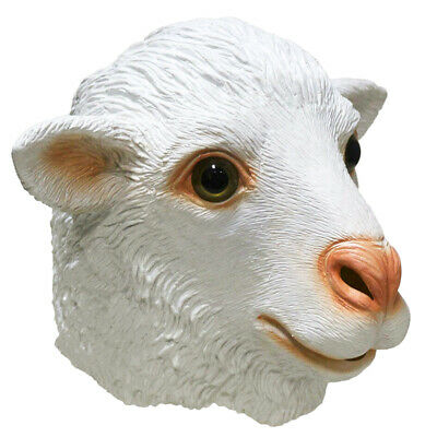 Adult Sheep Mask (Sheep Mask Farm Lamb Ram Animal Latex Fancy Dress Up Halloween Adult Costume)