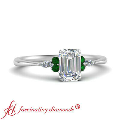 Emerald Cut Diamond & Emerald Gemstone Tapered Engagement Ring In 18K White Gold