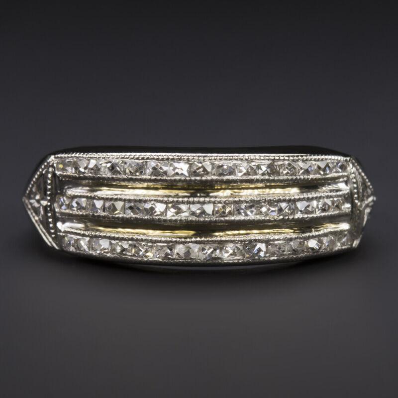 VINTAGE F-G VS FRENCH CUT DIAMOND RING PLATINUM WEDDING BAND ANTIQUE ART DECO