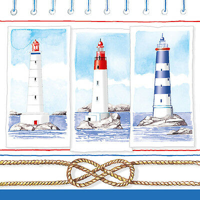 Ambiente Paper Napkins Serviette Lighthouses Pk of 20 Luxury 3 Ply Nautical Sea