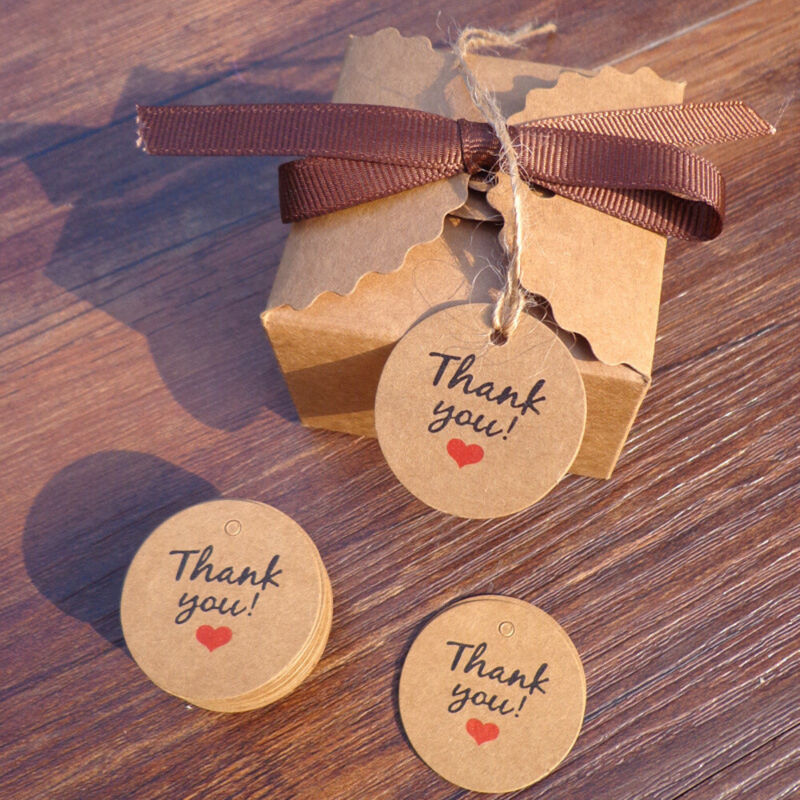 100 Pcs Thank You Red Heart Kraft Gift Tags Wedding Party Paper Hang Label Cards