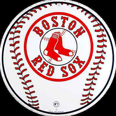 """BOSTON RED SOX 12"""" ROUND EMBOSSED METAL BASEBALL SIGN RED SOX MAN CAVE SIGN"""