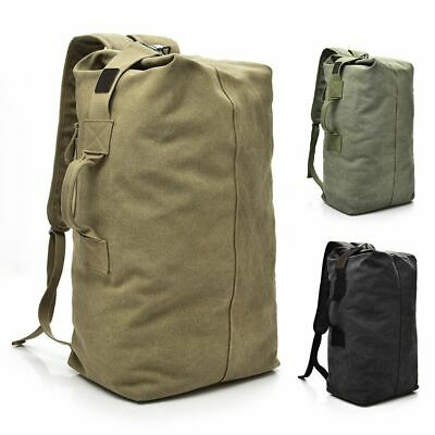 Men's Canvas Backpack Rucksack Hiking Travel Duffle Bag Military Handbag Satchel