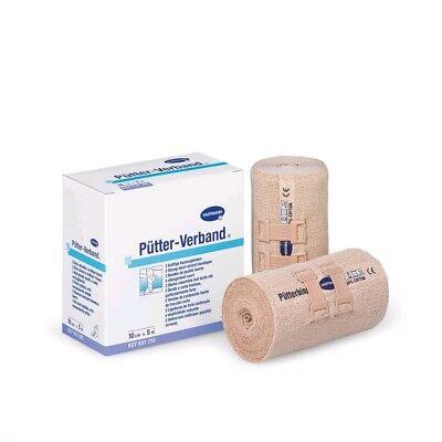 2x Pütter-Verband elastische Fixierbinde Kurzzugbinde Fixierverband, 10 cm x 5 m