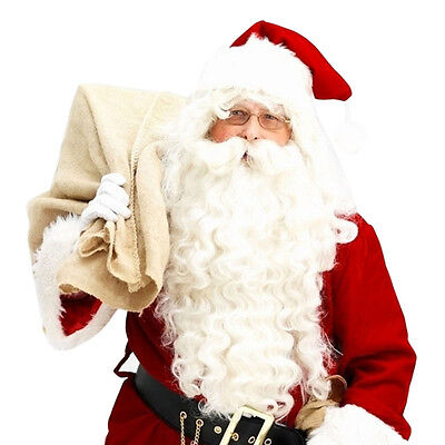 Santa Beard and Wig Set Adult Santa Claus Costume Christmas Fancy Dress Xmas - Wig Set