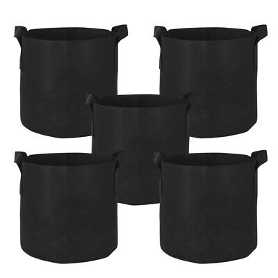 10-Pack Round Fabric Aeration Plant Pots Grow Bags 1 2 3 5 7 10 Gallon Black ()