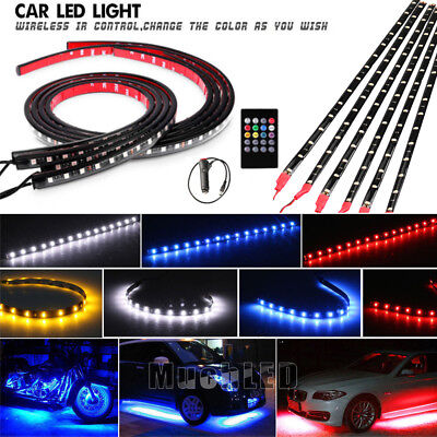 6Pcs 8 Color LED Strip Under Car Tube underglow Underbody System Neon Lights Kit ()