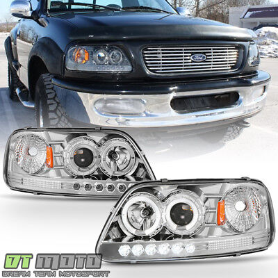 1997-2003 Ford F150 Expedition LED Halo Projector Headlights Lighs Left+Right