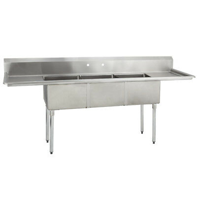 3 Three Compartment Commercial Stainless Steel Sink 75 X 20.8 G 635510452881