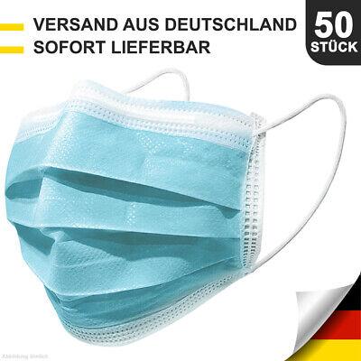 50 Stück Atemschutz-Masken Mundschutz-Masken 3 Lagig Einwegmaske OP-Maske