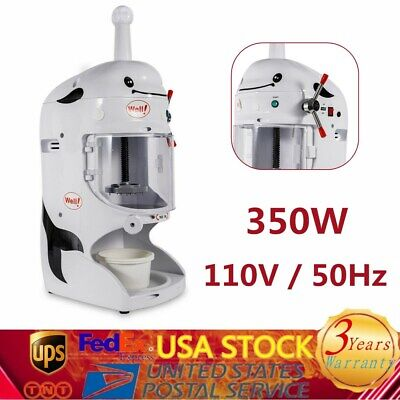 New 350w Ice Shaver Machine Snow Cone Maker Shaved Icee 90kgh Electric Crusher
