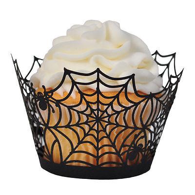CELEBRATE IT Halloween Laser-Cut SPIDER WEB Cupcake Wrappers - - Halloween Spider Web Cupcakes