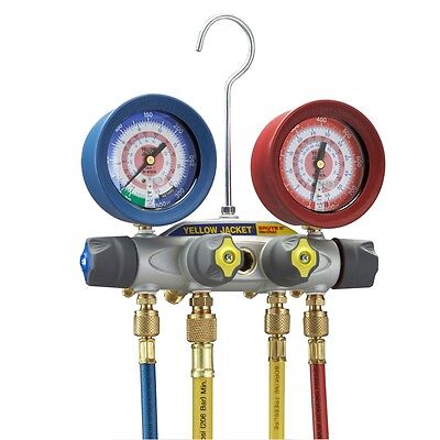 Yellow Jacket 46043 Brute Ii Test Charge Manifold F With Redblue Gauges