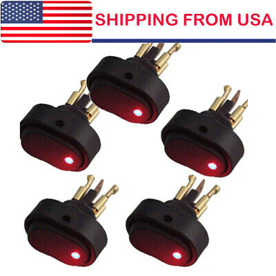 5 12v 30amp 30a Heavy Duty Red Led Offon Rocker Switch Car Boat Marine Us