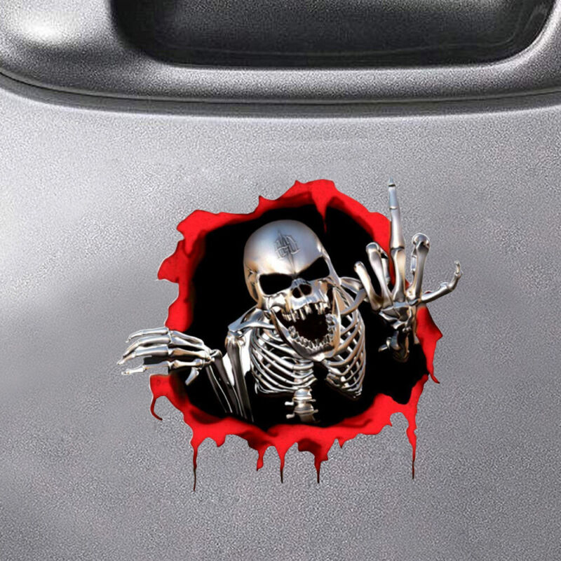 3D Metal Skeleton Skull Motorcycle Trunk Emblem Badge Window Decal Car Sticker