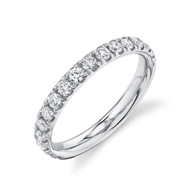 14K Oro Blanco Diamante Anillo Compromiso Boda Redondo Talla 7 0.72CT 3MM