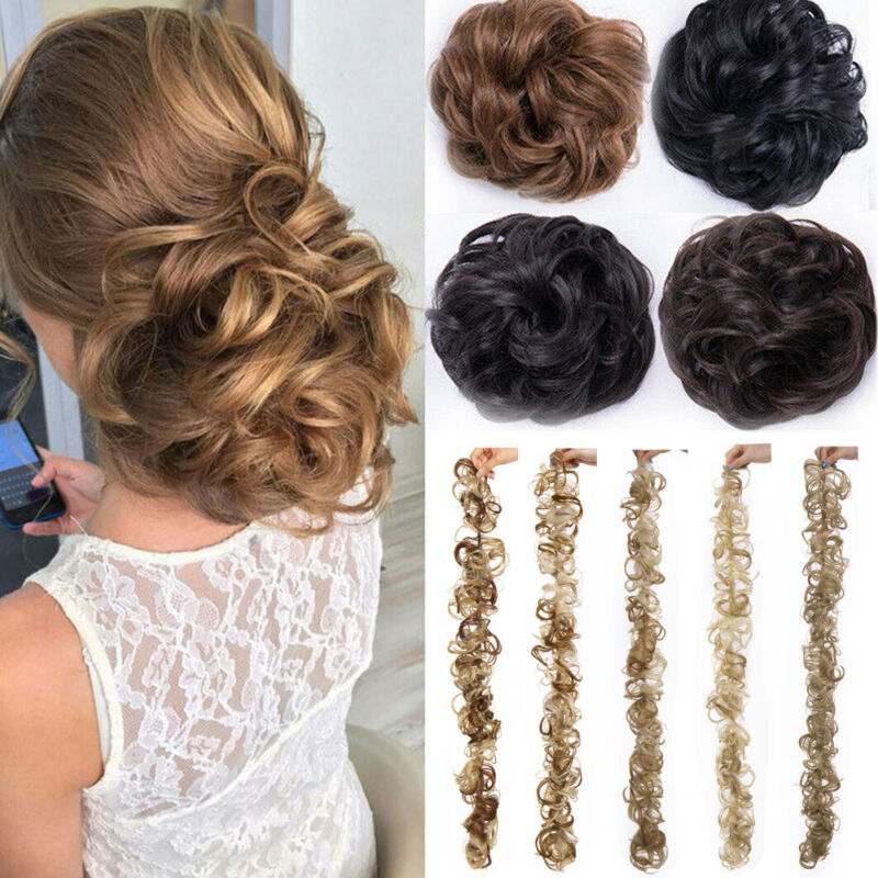 Long Thick Hair Extension Scrunchie Wrap Messy Bun Updo Curly Ponytail Chignon H Ebay
