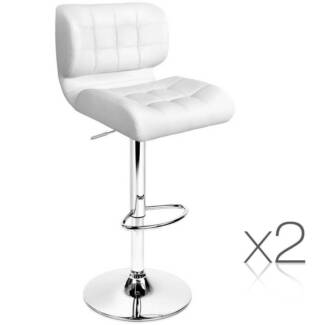 AUS FREE DEL-2x PU Leather Padded Swivel Seat Bar Stools - White