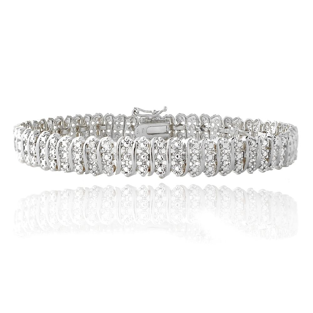1.00ct TDW Natural Diamond S Link Tennis Bracelet in Gold or Silver Plated Brass Silver Tone