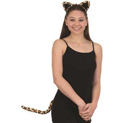 Leopard Kit Headband Ears & Tail Big Cat Animal Adult Cosplay Halloween Costume - Leopard Halloween Kit
