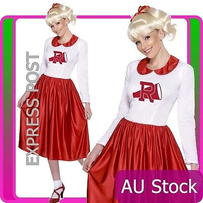 50s Grease Sandy Costume Red Rydell High Cheerleader 1950s Fancy Dress Up