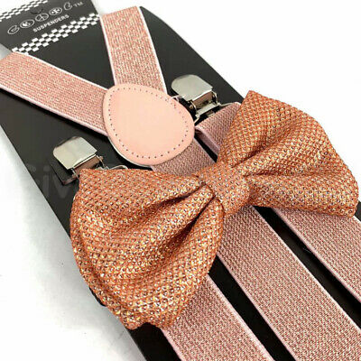 Suspender and Bow Tie Adults Men Rose Gold Glitter Set Formal Wear Accessories - Sparkle Suspenders