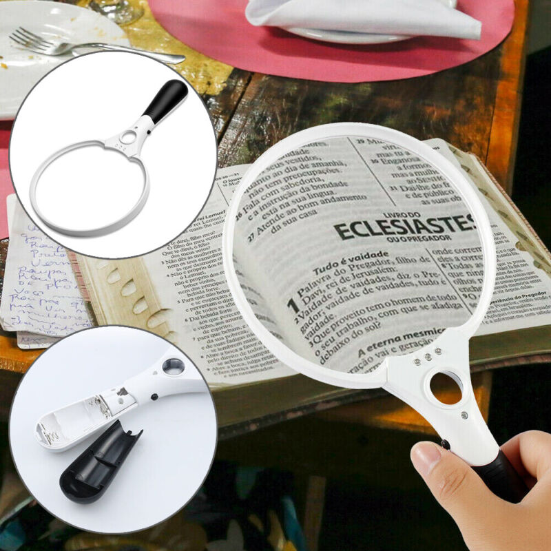 25X Magnifying Glass Extra Large Handheld Reading Magnifier with 3 LED Lights