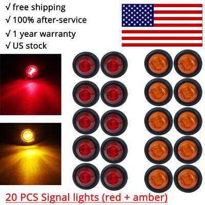 20X Red + Amber LED Bullet Side Marker Light Flush Mount Truck Trailer 12V 3/4