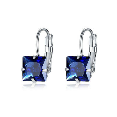 Engagement Princess Cut Emerald Sapphire Ruby Gemstone Silver Dangle Earrings ()