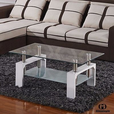 تربيزه جديد Rectangular Glass Coffee Table Living Room Furniture Shelf Chrome White Wood