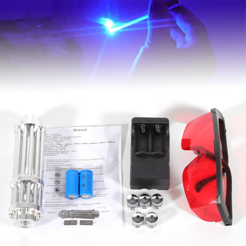 450nm Blue Laser Light Burning Match Pen Beam Lights Military Kit +Goggles+ Case