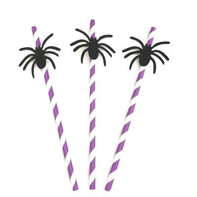 Halloween Spider Paper Drinking Straws DIY Disposable Recycled Decor Party 20Pcs](Diy Halloween Drinks)