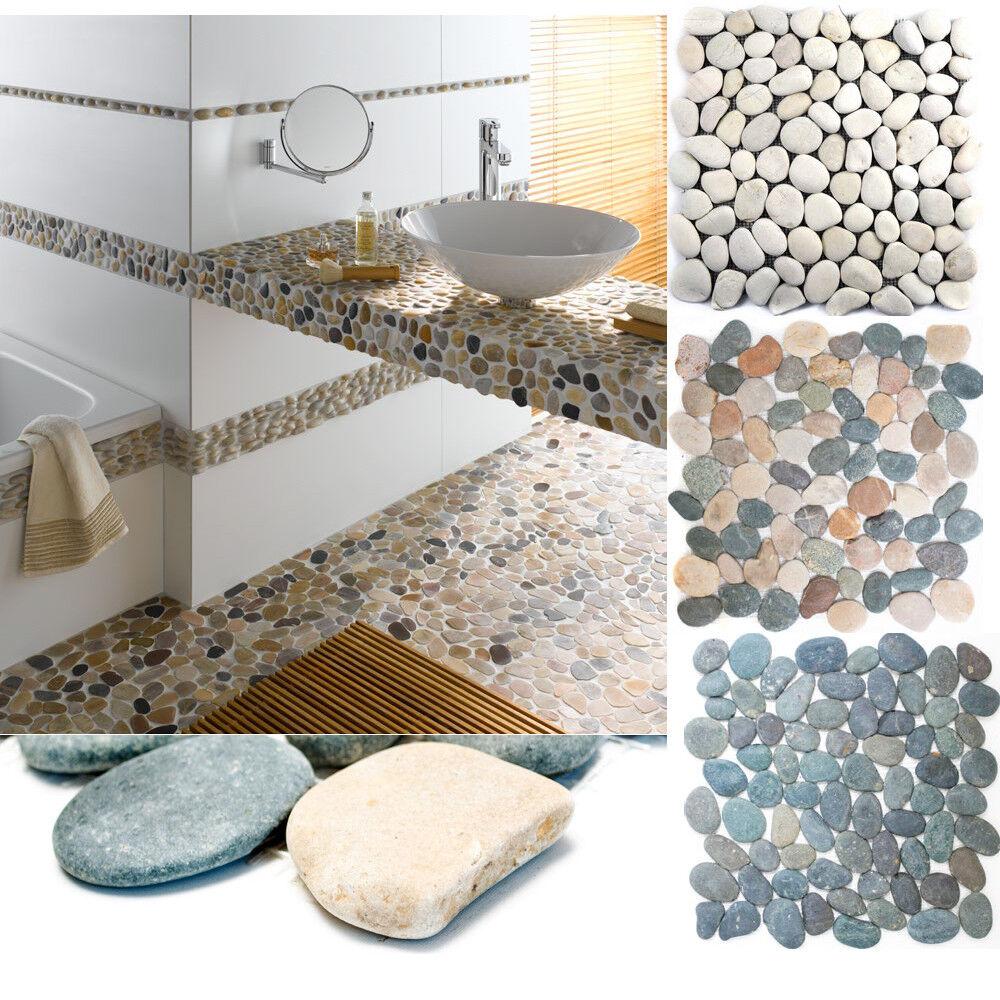 Details zu Flußkiesel Steinkiesel Steinwand Verblender Duschboden Wand BAD  - MARINA di PISA