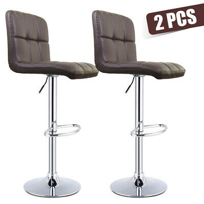 2pc Vintage Bar Stools Breakfast Counter Height Adjustable Footrest Swivel Chair