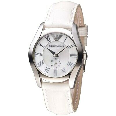 Emporio Armani AR1669 Classic White Leather Strap Womens Watch