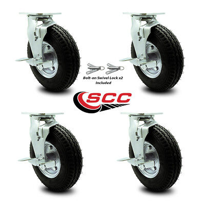 Scc 8 Pneumatic Casters Set 4 - All Swivel Wbrakes 2 Bolt On Swivel Locks