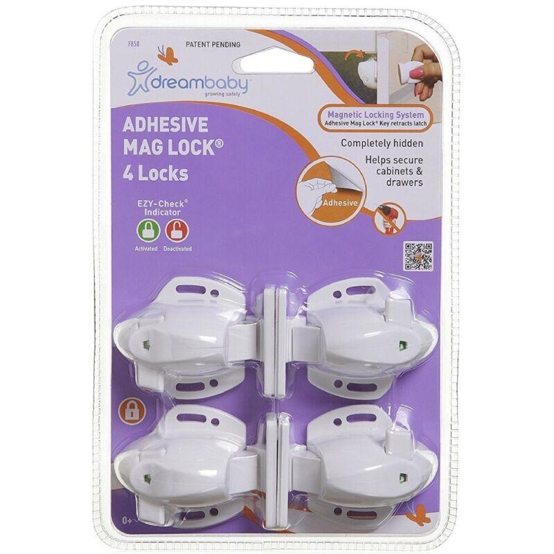 Dreambaby Adhesive Mag Locks No Key Cabinet Drawer Baby Proofing 4 Locks, White