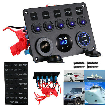 5 Gang DC12V/24V On-Off Blue LED Toggle Switch Panel Voltmeter Dual USB Quality