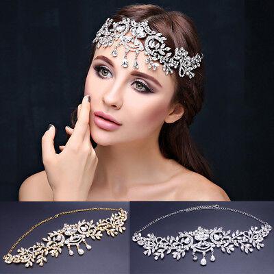 Teardrop Leaf Crystal Bridal Tiara Crown Wedding Pageant Headpiece Gold/Silver