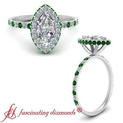 Marquise Cut Diamond And Emerald Gemstone Halo Engagement Ring For Women 1.35 Ct