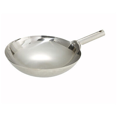 Winco Wok-14w 14-inch Mirror Finish Stainless Steel Chinese Wok With Welded Joi