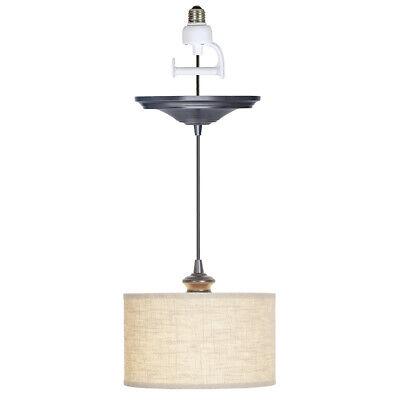 Worth Home Instant Pendant Recessed Light Conversion Kit Brushed Bronze Linen Instant Pendant Light
