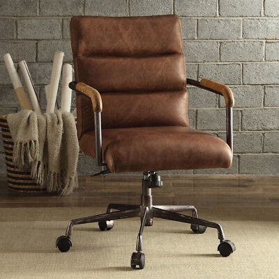 Harith Home Office Executive Chair Retro Brown Top Grain Leather Metal Base New