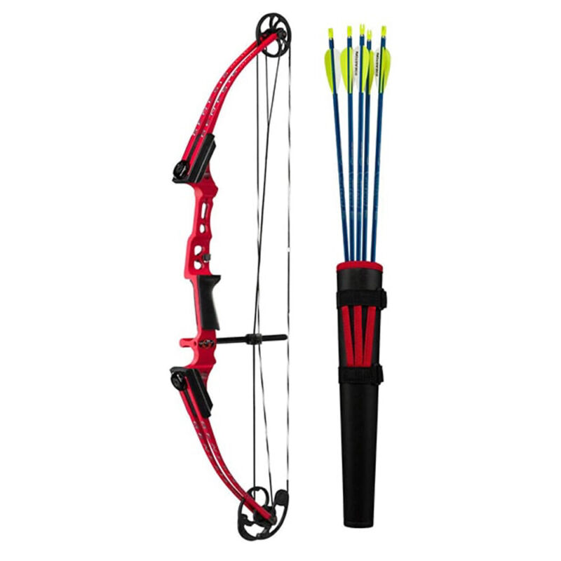 Genesis Archery Mini Genesis Compound Target Practice Bow Kit, Right Hand, Red
