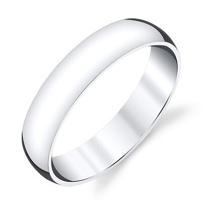 - 5mm Plain Dome Sterling Silver Mens Wedding Band Comfort Fit Ring  #SEVB011
