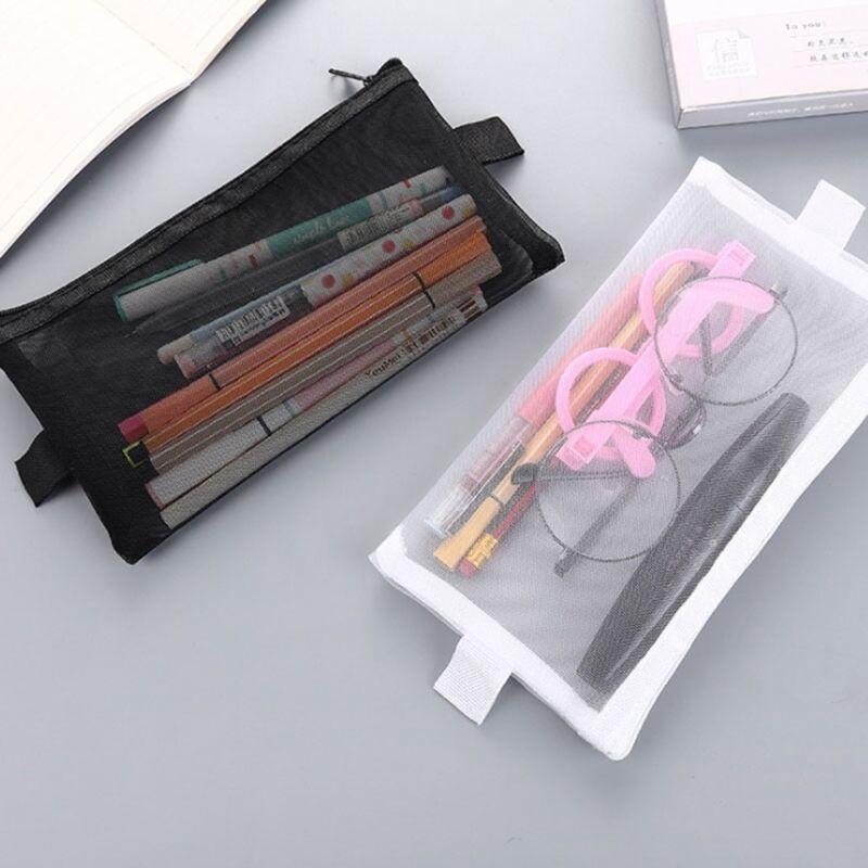 Grid Zipper Pencil Case Eyeliner Eyeshadow Storage Travel Ma