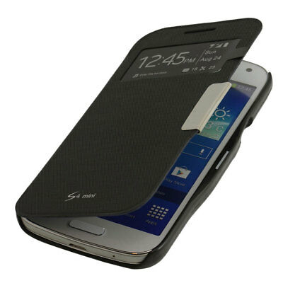S-view Tasche für Samsung Galaxy S4 mini  Flip Cover Schutzhülle Case schwarz Mini-flip-cover