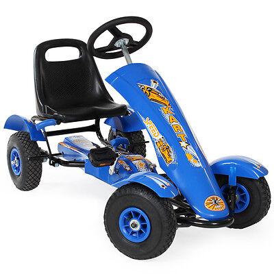 Go-Kart Rennkart Gocart Kinder Tretauto Cart Gokart Tretfahrzeug blau