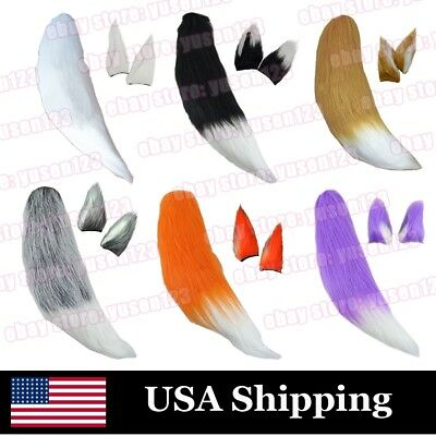 US Ship Fluffy Fox Tail or Ears For Kids Cosplay Costume Christmas Party Dress - Fox Ear Costume