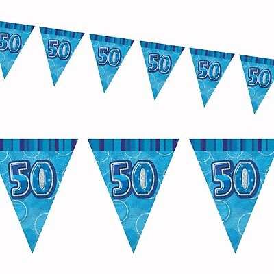9ft Blue Sparkle Happy 50th Birthday Pennant Flag Banner Party Decoration